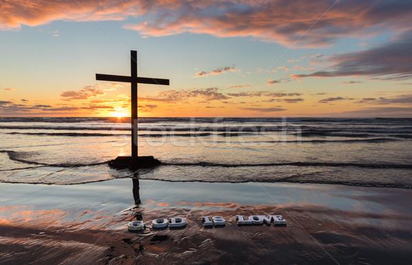Plage dieu amour noir croix mots Photo stock © rghenry