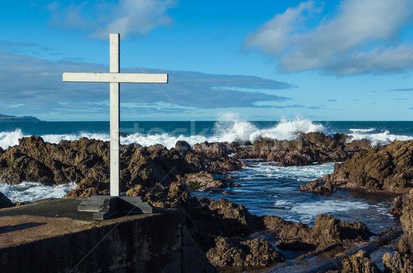 ストックフォト: 白 · クロス · 海岸線 · 波 · ビーチ · 海