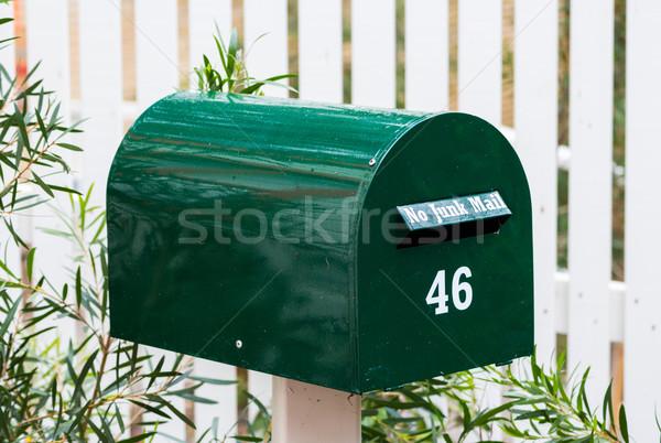 Groene brievenbus mail aantal metaal brief Stockfoto © rghenry