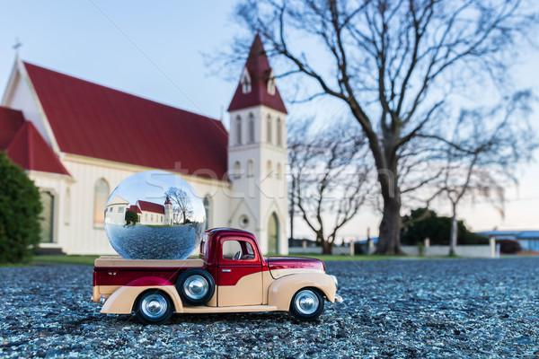 Glas bal kerk vrachtwagen kant wereldbol Stockfoto © rghenry