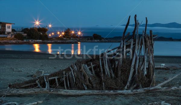 Schronisko na zewnątrz plaży drewna rzeki Zdjęcia stock © rghenry