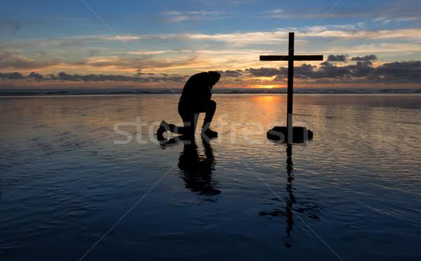Stock photo: Kneeling Praying Man Beach