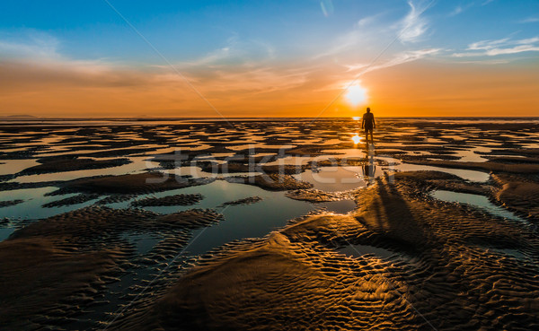 Stock photo: Low Tide Bach Sunset
