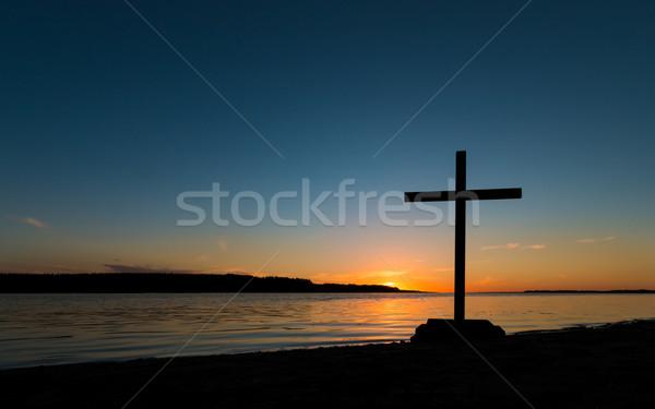 çapraz gün batımı siyah nehir gökyüzü İsa Stok fotoğraf © rghenry