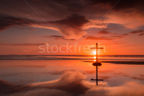 Crown & Sword Sunset Cross Stock photo © rghenry