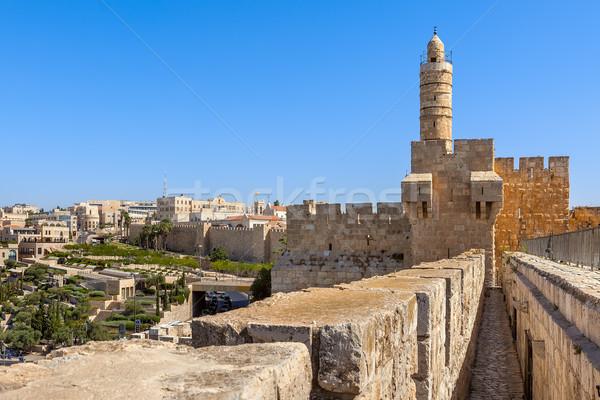 塔 エルサレム イスラエル 古代 砦 青空 ストックフォト © rglinsky77
