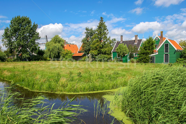 Small creek and rural houses in Dutch village. Stock photo © rglinsky77