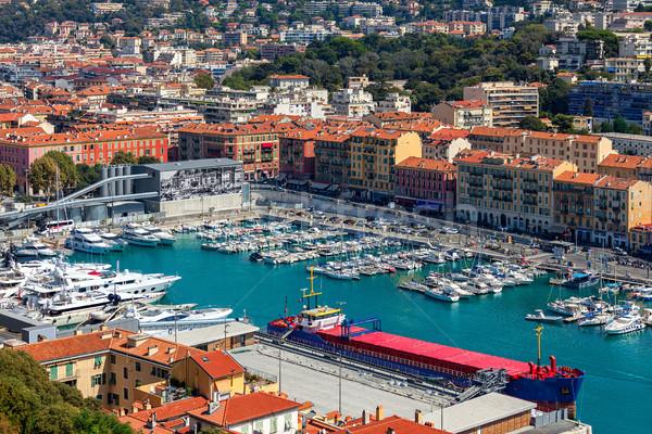 Portu nice łodzi statków widok z góry wody Zdjęcia stock © rglinsky77