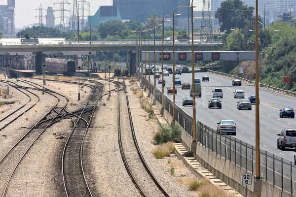 Railways and highway in Tel Aviv, Israel. Stock photo © rglinsky77