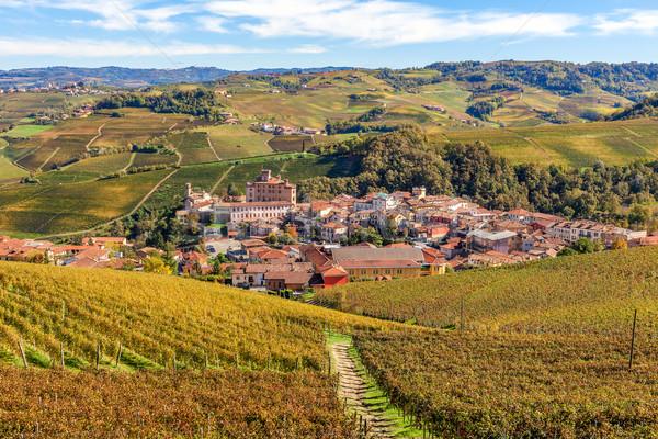 Város Olaszország kisváros dombok őszi északi Stock fotó © rglinsky77