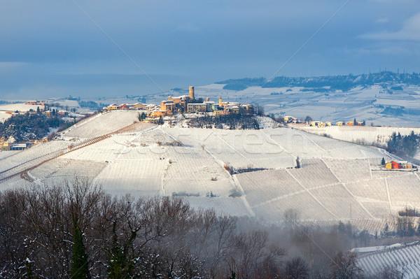 Pequena cidade colina pequeno medieval cidade inverno Foto stock © rglinsky77