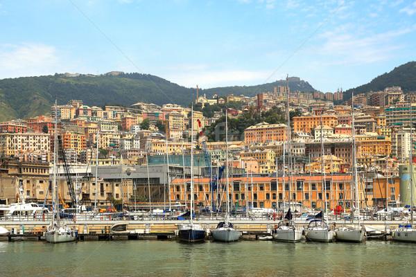 Harbor and city of Genoa, Italy. Stock photo © rglinsky77
