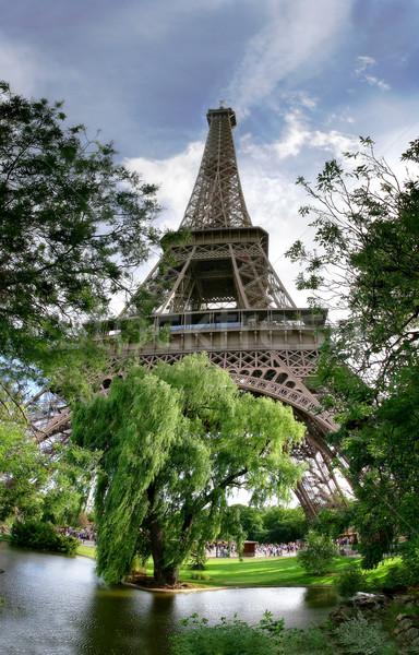 Függőleges zsákmányolás Eiffel-torony panoráma híres Párizs Stock fotó © rglinsky77