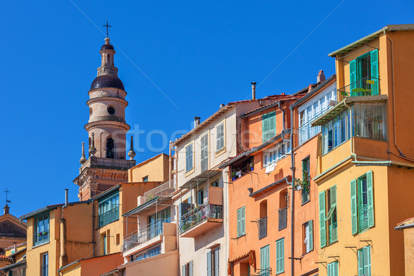 Colorful houses and belfry in Menton, France. Stock photo © rglinsky77