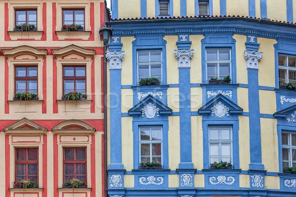 красочный архитектура Прага фасад два Сток-фото © rglinsky77