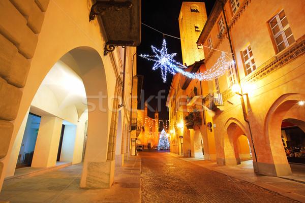 Town center at evening. Alba, Italy. Stock photo © rglinsky77
