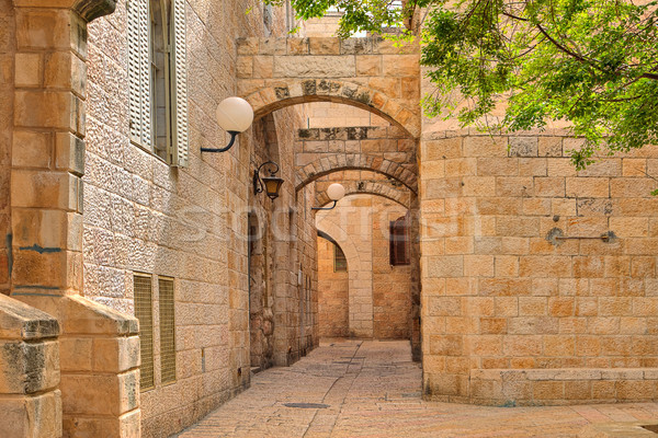 Narrow street and stonrd houses at jewish quarter in Jerusalem. Stock photo © rglinsky77