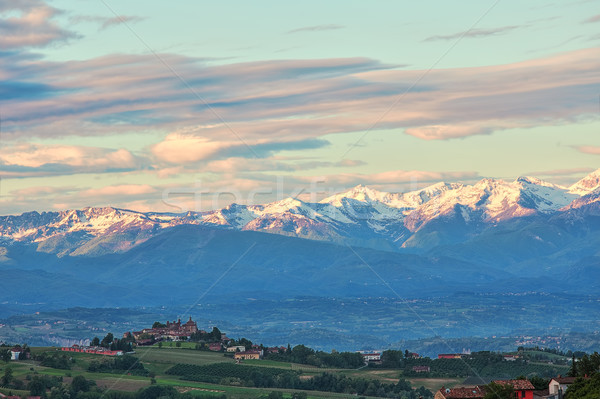 Town on the hill and mountains with snow in Italy. Stock photo © rglinsky77