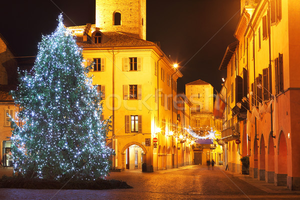 Christmas tree on central plaza. Alba, Italy. Stock photo © rglinsky77