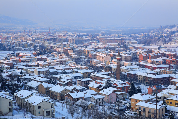 Aerial view on snowy town. Alba, Italy. Stock photo © rglinsky77