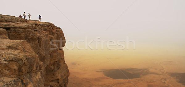 Klif krater panorama panoramisch woestijn Stockfoto © rglinsky77