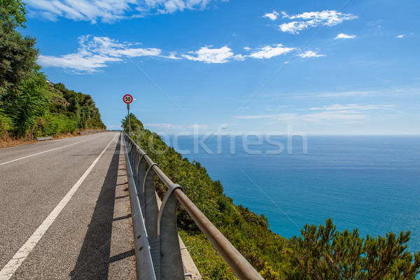 Road along Mediterranean sea coastline in Italy. Stock photo © rglinsky77