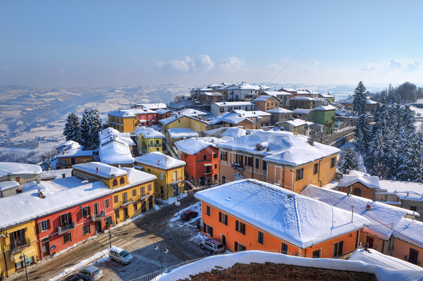 Small town under the snow. Diano D'Alba, Italy. Stock photo © rglinsky77