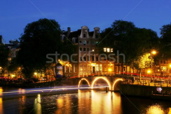 Амстердам сумерки мнение город канал реке Сток-фото © rglinsky77