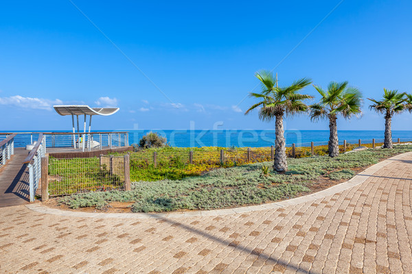 Promenade and viewpoint over shoreline in Ashkelon, Israel. Stock photo © rglinsky77