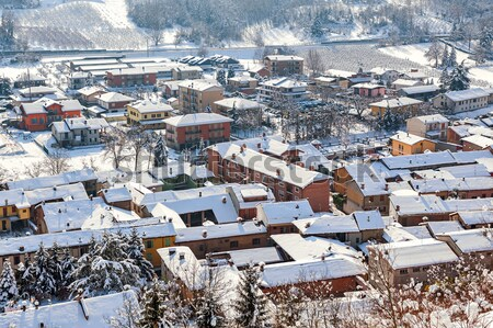 Small town covered with snow in Piedmont, Italy. Stock photo © rglinsky77