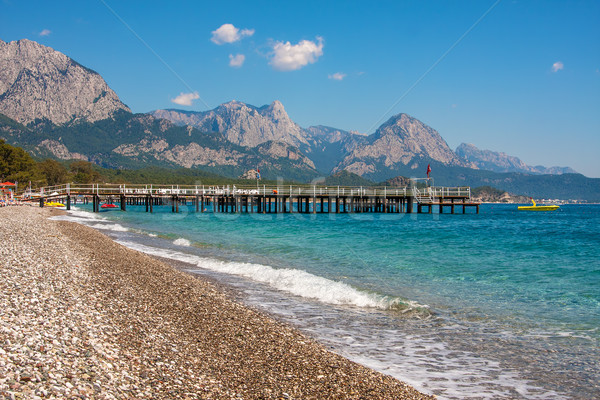 Shingle beach and sea view in Kemer, Turkey. Stock photo © rglinsky77