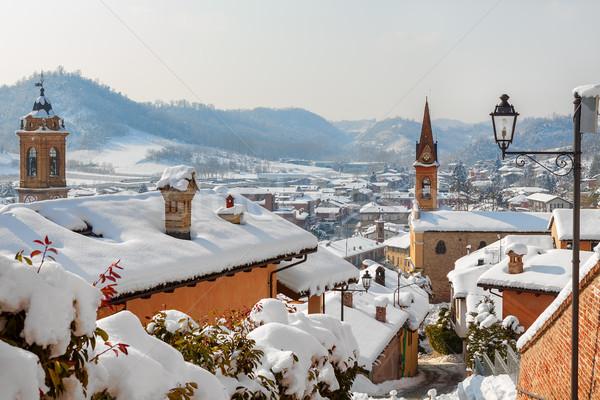 Kapalı kar İtalya çatılar kiliseler Stok fotoğraf © rglinsky77