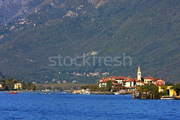Göl küçük köy dağlar kuzey İtalya Stok fotoğraf © rglinsky77
