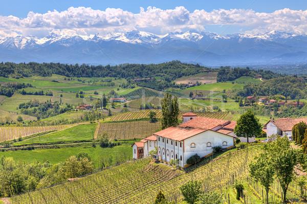 Stock fotó: Vidéki · ház · dombok · Olaszország · zöld · hegyek