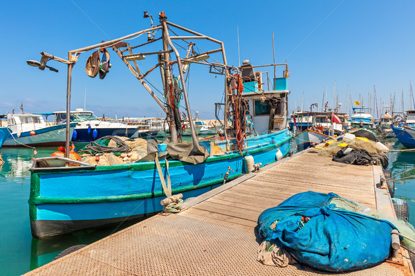 Fisherman boat in Jaffa, Israel. Stock photo © rglinsky77