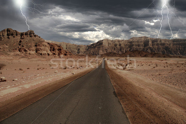 Stock photo: Narrow road through the desert in Israel.