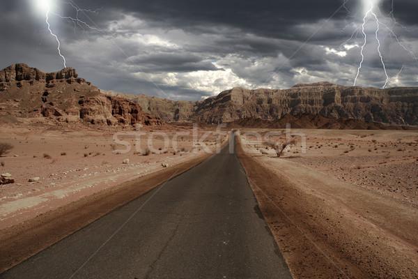 Narrow road through the desert in Israel. Stock photo © rglinsky77