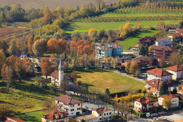 Pequena cidade acima ver Itália colorido Foto stock © rglinsky77