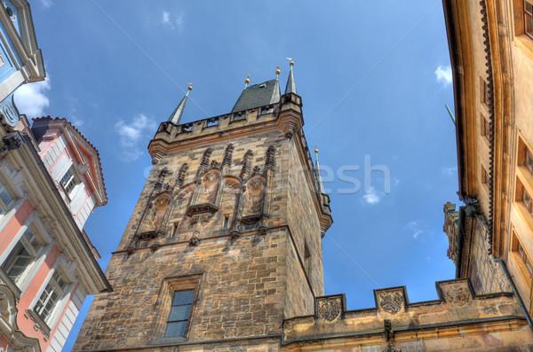 Ancient tower on Charles Bridge in Prague. Stock photo © rglinsky77