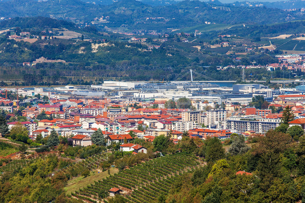 Town of Alba among hills in Piedmont, Italy. Stock photo © rglinsky77