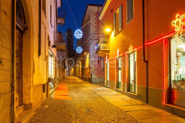Decorato strada stretta case Natale Foto d'archivio © rglinsky77