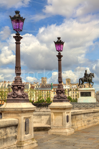 Lampposts on Pont Neuf. Paris, France. Stock photo © rglinsky77