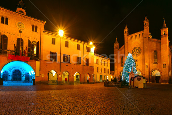 Christmas tree on central square. Alba, Italy. Stock photo © rglinsky77