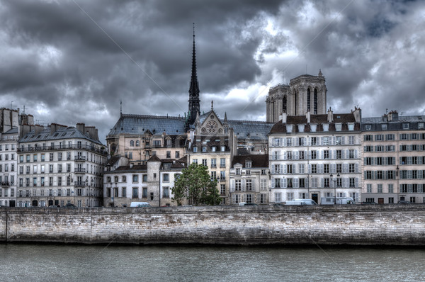 Building and Notre Dame de Paris Cathedral. Stock photo © rglinsky77