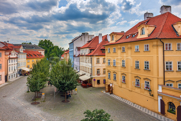 Stok fotoğraf: Renkli · evler · Prag · tipik · kırmızı · çatılar