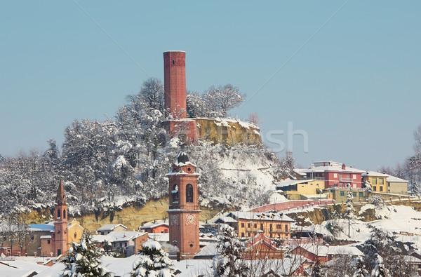 Kar İtalya kiliseler evler eski Stok fotoğraf © rglinsky77