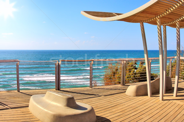 Promenád mediterrán tenger Izrael kilátás fából készült Stock fotó © rglinsky77