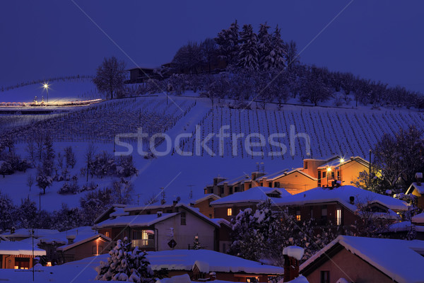 Snowy hill at evening. Alba, Italy. Stock photo © rglinsky77