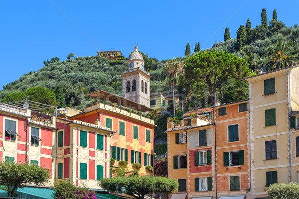 Belfry and colorful houses of Portofino. Stock photo © rglinsky77