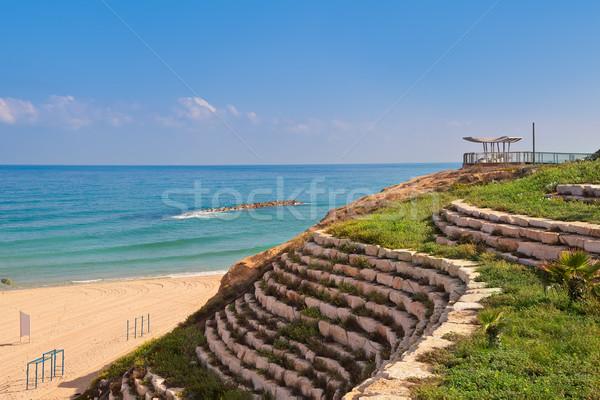 Steen terras promenade Israël kunstmatig groen gras Stockfoto © rglinsky77